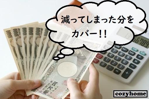電卓とお財布と1万円札を持つ手